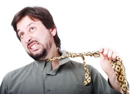 Man wearing shirt and tie with boring expression on his face Stock Photo - 5171301