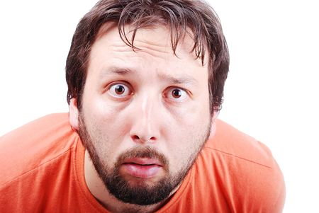 A man with surprised expression on face photo