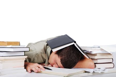 frustrated student: Young man fallen asleep after long reading Stock Photo