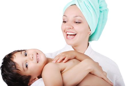 beautifull: Young mother and her son after taking a bath