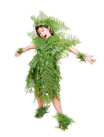 greenpeace: Pretty little girl dressed in green plant leafs Stock Photo