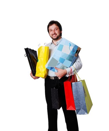 Man with many bags from shopping photo