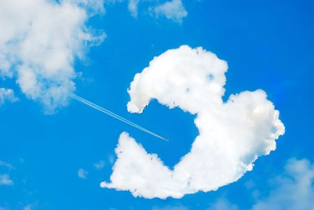 Broken heart shaped cloud photo