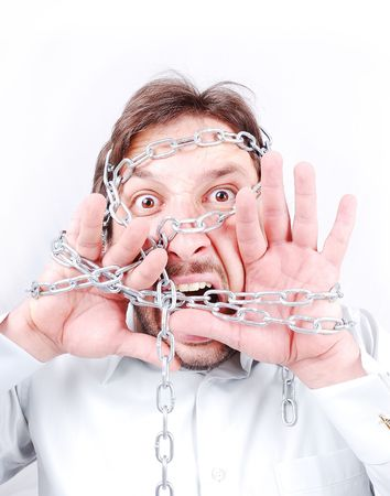 Chained man screaming Stock Photo - 5262365