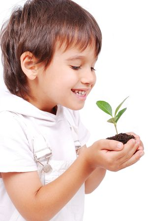 Little cute child holding green plant in hands photo