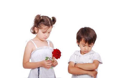 Beautiful scene of a boy and girl with rose photo