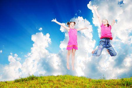 Beautiful scene of happy childhod in air photo