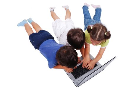 Chidren activities on laptop isolated in white photo