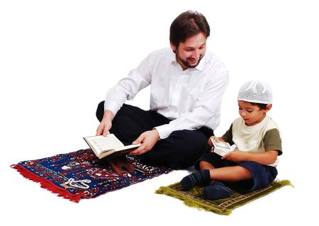 learning pray: Muslim worship activites in Ramadan holy month