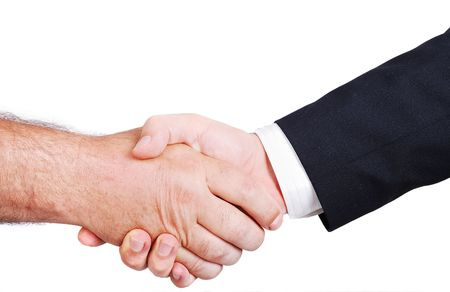 Two white male hands shaking Stock Photo - 5338459