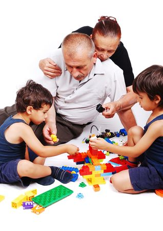 Parenting and playing with two boys isolated photo