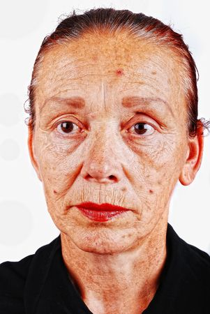 Senior woman with old skin face photo