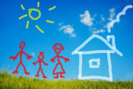 Illustrated happy family and their new home on green meadow photo