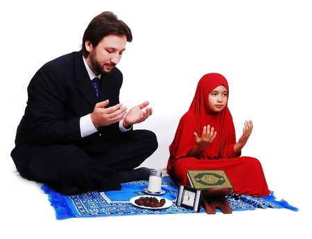 learning pray: Muslim fasting activities in Ramadan month Stock Photo