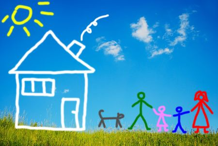 estate planning: Happy family and their pet in front of house, painted