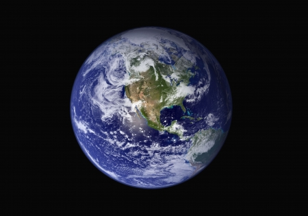 Planet earth on black background photo