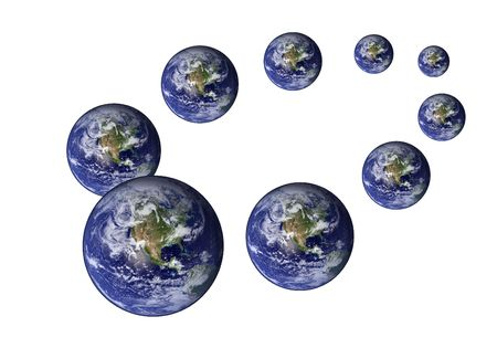 Multiplied earth in various sizes photo