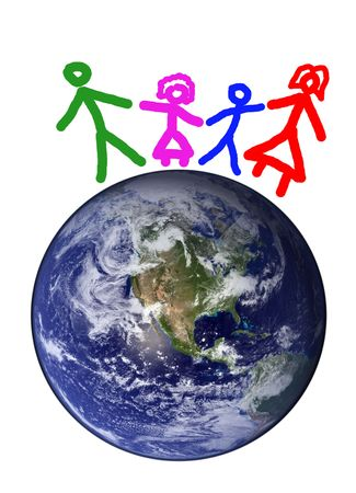 Happy family on planet earth isolated Stock Photo - 5396409