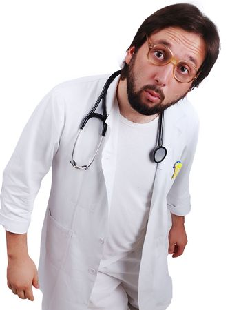 funny glasses: Young male doctor in white standing close up with funny surprised face