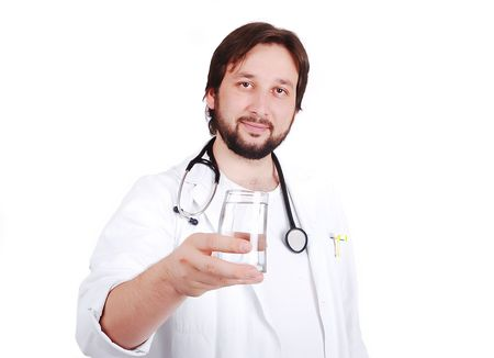 Young male doctor advicing healthy natural water Stock Photo - 5411650