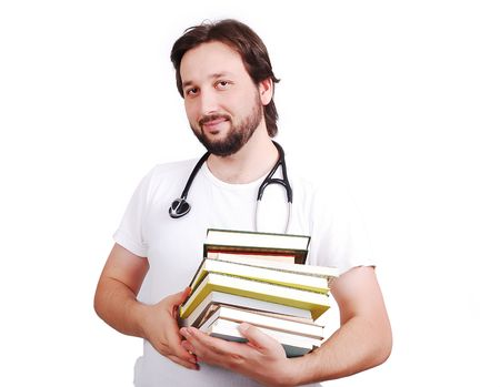 Young male doctor with books in hands Stock Photo - 5411569