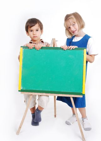 greenboard: Educational activities in the front of small board, outdoor
