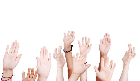Many children hands high up isolated Stock Photo - 5396472