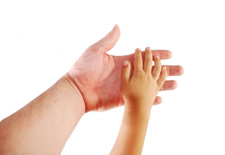 Parent and child, hands together on white background Stock Photo - 5396529