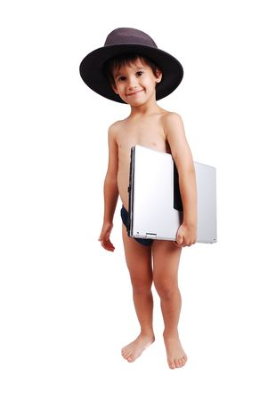 Cute kid in underwear with laptop, isolated photo