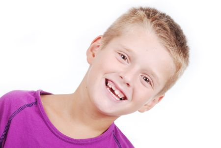 sidelong: Cute school kid with blond hair isolated Stock Photo