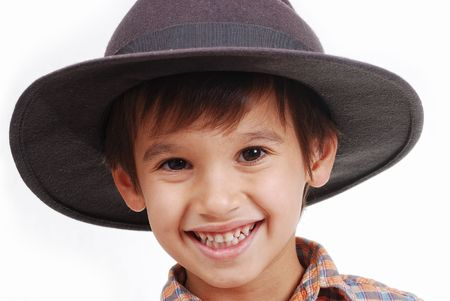 Very cute kid with hat on his head, isolated Stock Photo - 5444790