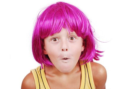 periwig: Funny cute boy with pink periwig on head