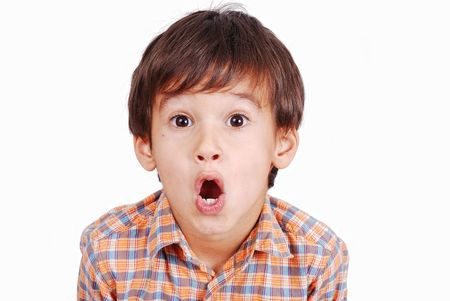 Cute funny boy with surprised face isolated Stock Photo - 5444754