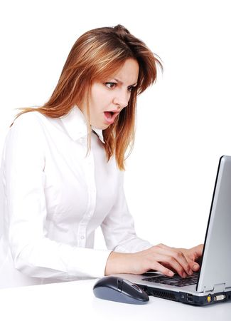 Young female model on laptop, isolated scene photo