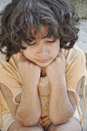 Poverty and poorness on the expression of children Stock Photo - 5488777