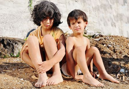 Poverty and poorness on the expression of children Stock Photo - 5488787