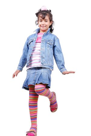 Happy beautiful school girl in studio Stock Photo - 5507982