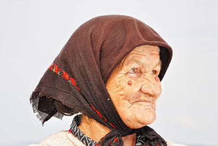 Very old woman with expression on her face Stock Photo - 5555007