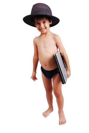 boy underwear: Cute kid in underwear with laptop, isolated Stock Photo