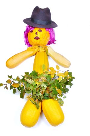 periwig: Doll made by pumpkins, periwig, hat and leaves
