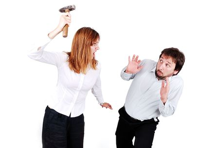 women fight: Fighting between male and female isolated, hammer in hand