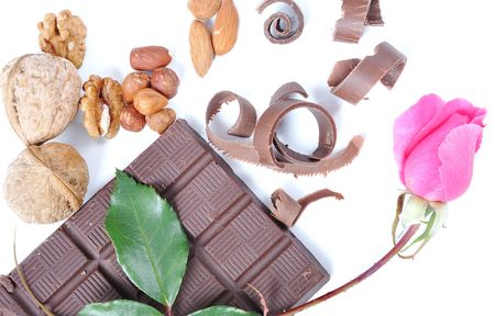 Chocolate, table, pieces, on white background Stock Photo - 5696491