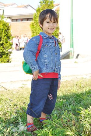 Happy children in front of the school, outdoor, summer to fall Stock Photo - 5678854