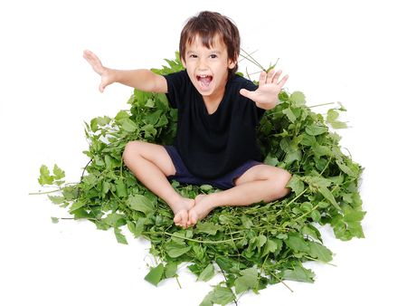 A little cute kid sitting on green leaves chair photo
