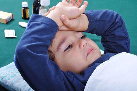 influenza: Sick boy Stock Photo