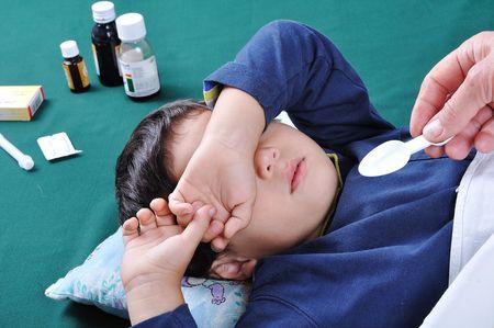 grippe: Sick boy Stock Photo