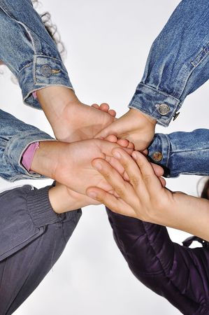 Many children hands together Stock Photo - 5696502