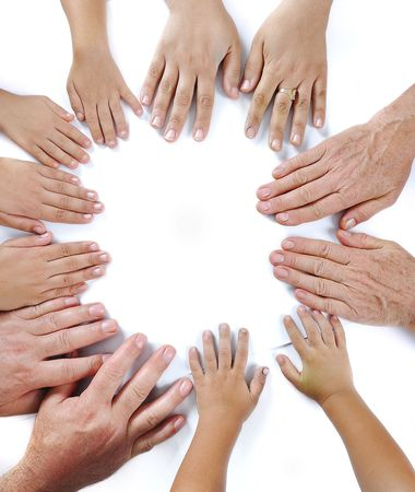 Many different sizes hands on isolated background Stock Photo - 5730827