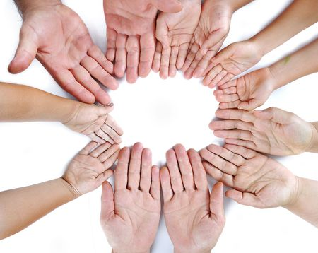 cut wrist: Many different sizes hands on isolated background