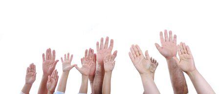 Many different sizes hands on isolated background Stock Photo - 5731220